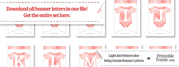Light Red Watercolor Baby Onesie Bunting Banner Letters Download