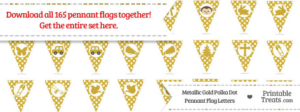 Metallic Gold Polka Dot Pennant Flag Letters Download