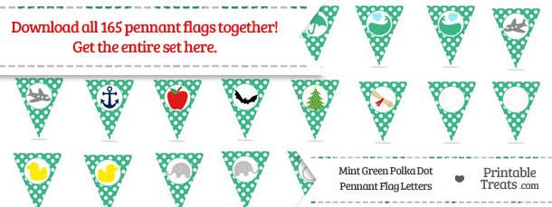 Mint Green Polka Dot Pennant Flag Letters Download