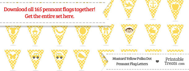 Mustard Yellow Polka Dot Pennant Flag Letters Download