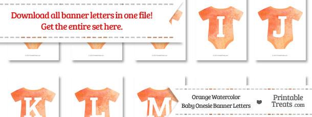 Orange Watercolor Baby Onesie Shaped Banner Letters Download