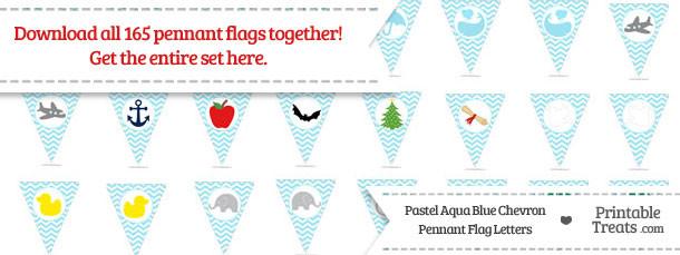 Pastel Aqua Blue Chevron Pennant Flag Letters Download