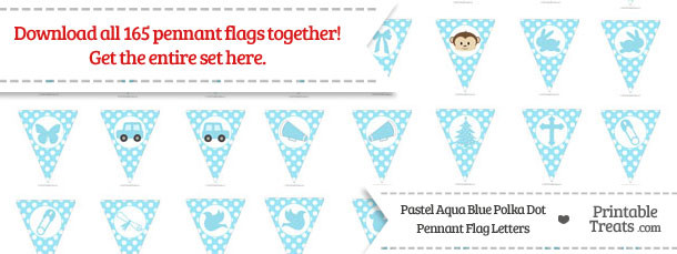 Pastel Aqua Blue Polka Dot Pennant Flag Letters Download