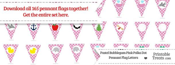 Pastel Bubblegum Pink Polka Dot Pennant Flag Letters Download