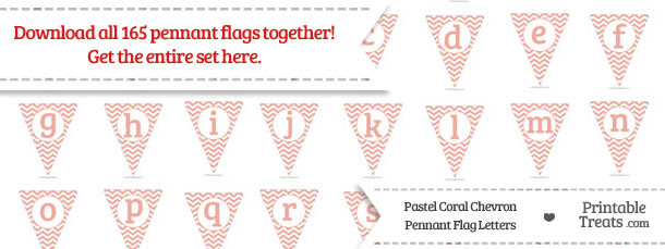 Pastel Coral Chevron Pennant Flag Letters Download