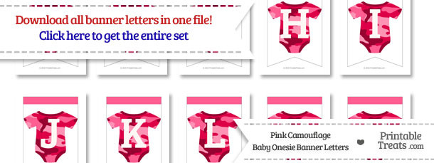 Pink Camo Baby Onesie Bunting Banner Letters Download