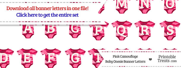 Download Pink Camouflage Baby Onesie Shaped Banner Letters