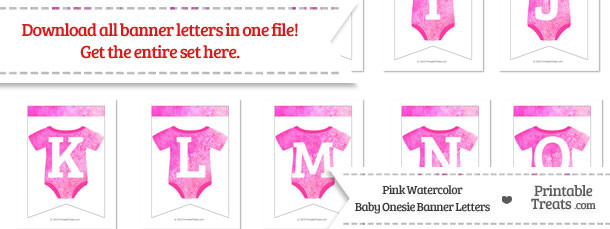Pink Watercolor Baby Onesie Bunting Banner Letters Download