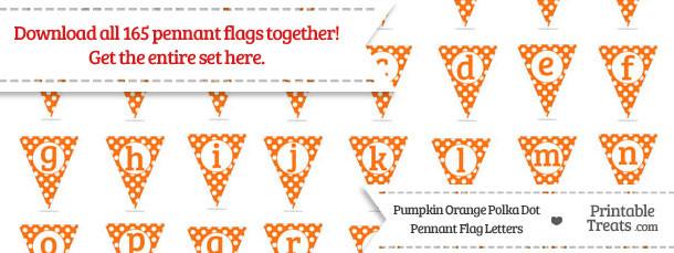 Pumpkin Orange Polka Dot Pennant Flag Letters Download