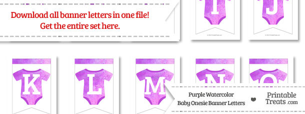 Purple Watercolor Baby Onesie Bunting Banner Letters Download