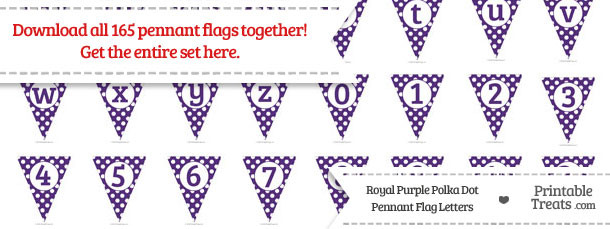 Royal Purple Polka Dot Pennant Flag Letters Download