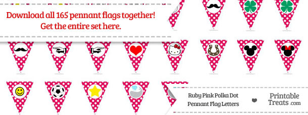Ruby Pink Polka Dot Pennant Flag Letters Download