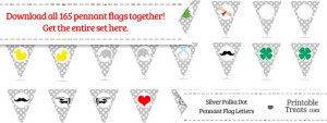 Silver Polka Dot Pennant Flag Letters Download