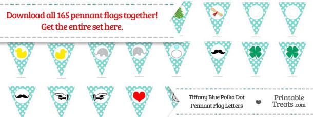 Tiffany Blue Polka Dot Pennant Flag Letters Download