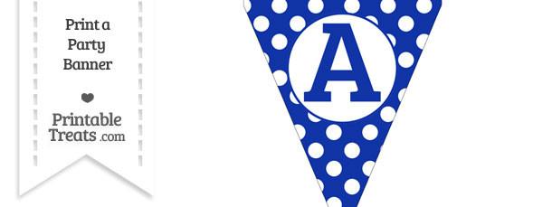 Egyptian Blue Polka Dot Pennant Flag Capital Letter A