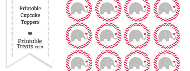 Amaranth Pink Chevron Baby Elephant Cupcake Toppers