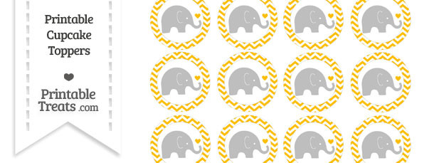 Amber Chevron Baby Elephant Cupcake Toppers