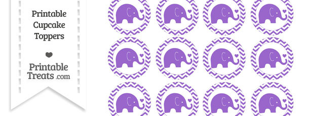Amethyst Baby Elephant Chevron Cupcake Toppers