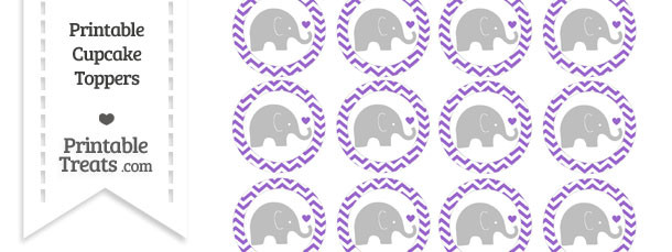 Amethyst Chevron Baby Elephant Cupcake Toppers
