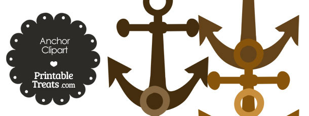 Anchor Clipart in Shades of Brown from PrintableTreats.com