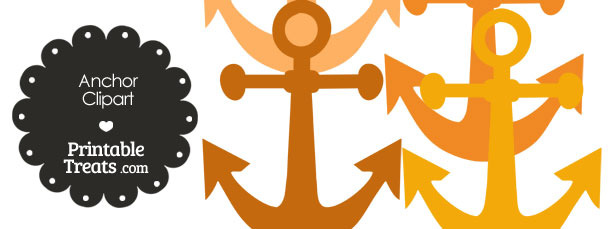 Anchor Clipart in Shades of Orange from PrintableTreats.com