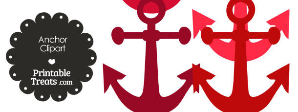 Anchor Clipart in Shades of Red from PrintableTreats.com