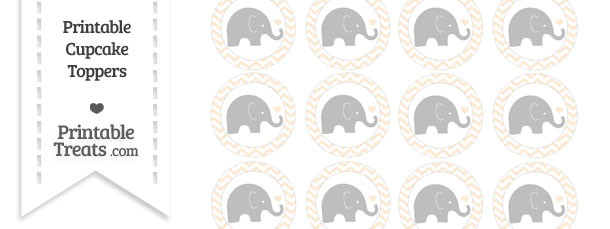 Antique White Chevron Baby Elephant Cupcake Toppers