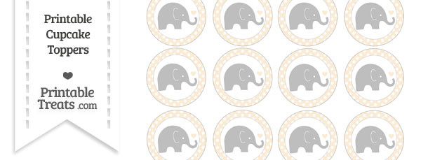 Antique White Polka Dot Baby Elephant Cupcake Toppers