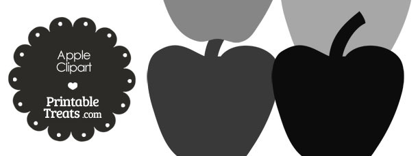 Apple Clipart in Shades of Grey from PrintableTreats.com
