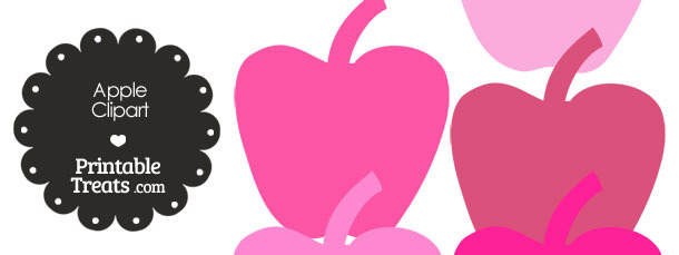 Apple Clipart in Shades of Pink from PrintableTreats.com