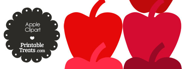 Apple Clipart in Shades of Red from PrintableTreats.com