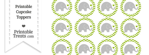 Apple Green Chevron Baby Elephant Cupcake Toppers