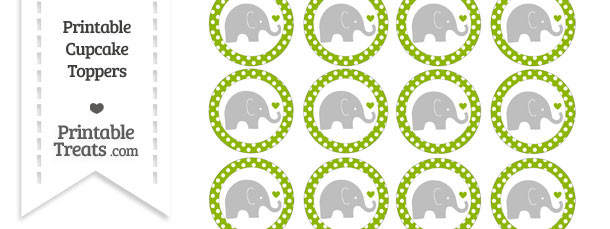 Apple Green Polka Dot Baby Elephant Cupcake Toppers