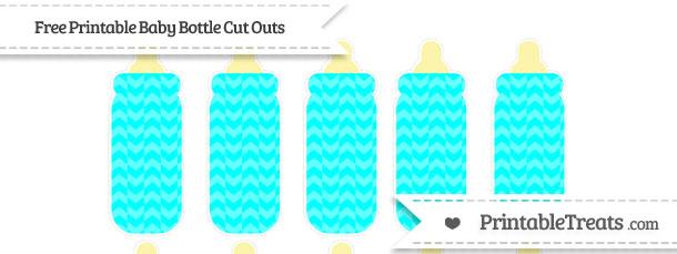 Aqua Blue Herringbone Pattern Small Baby Bottle Cut Outs ...