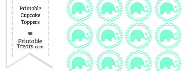 Aquamarine Baby Elephant Chevron Cupcake Toppers
