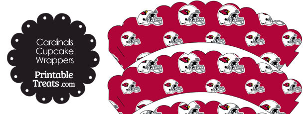 Arizona Cardinals Football Helmet Scalloped Cupcake Wrappers