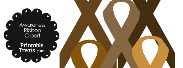 Awareness Ribbon Clipart in Shades of Brown