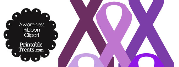 Awareness Ribbon Clipart in Shades of Purple