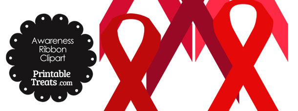 Awareness Ribbon Clipart in Shades of Red