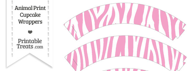 Baby Pink and White Zebra Print Cupcake Wrappers