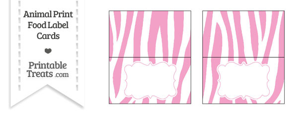 Baby Pink and White Zebra Print Food Labels