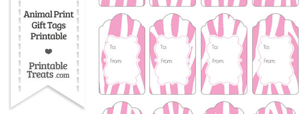 Baby Pink and White Zebra Print Gift Tags