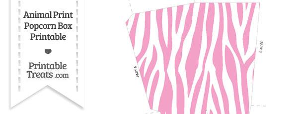 Baby Pink and White Zebra Print Popcorn Box