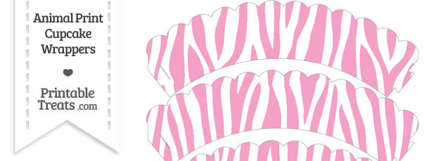 Baby Pink and White Zebra Print Scalloped Cupcake Wrappers