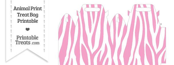 Baby Pink and White Zebra Print Treat Bag