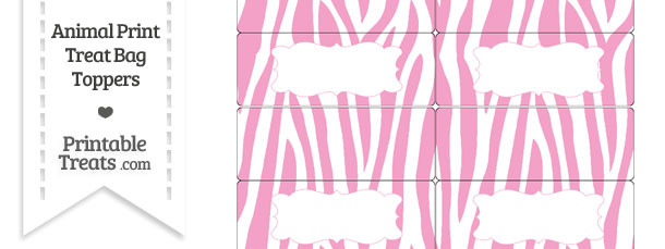Baby Pink and White Zebra Print Treat Bag Toppers