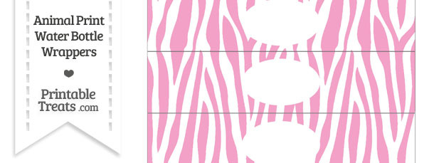 Baby Pink and White Zebra Print Water Bottle Wrappers
