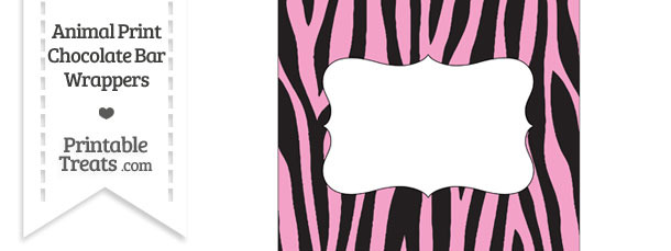 Baby Pink Zebra Print Chocolate Bar Wrappers