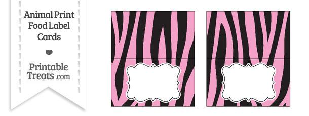 Baby Pink Zebra Print Food Labels