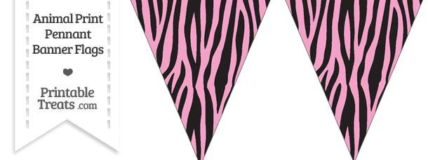 Baby Pink Zebra Print Pennant Banner Flag